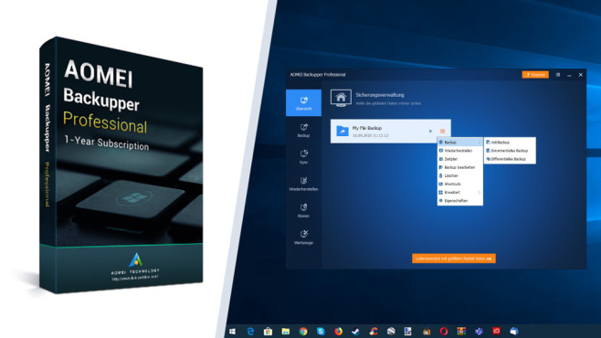 Verschlüsselungs-Software: Kostenlose Tools für Windows und Texte Der Aomei Backupper ist schon in der Freeware-Version spitze, die Pro-Variante setzt einen drauf.©COMPUTER BILD