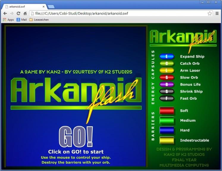 Screenshot 1 - Arkanoid
