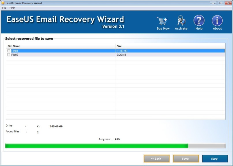 Screenshot 1 - EaseUS Email Recovery Wizard
