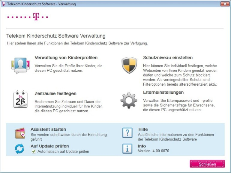 Screenshot 1 - Telekom Kinderschutz-Software