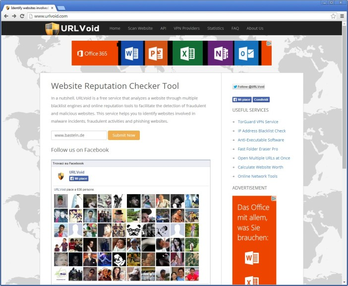 Screenshot 1 - URLVoid