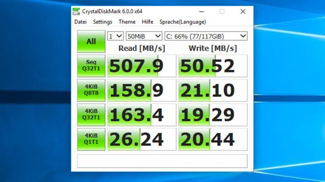 CrystalDiskMark: Messtool für Datenspeicher mit Theme-Unterstützung ©COMPUTER BILD