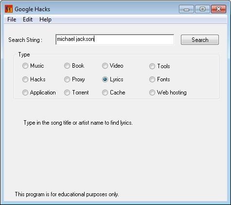 Screenshot 1 - Google Hacks