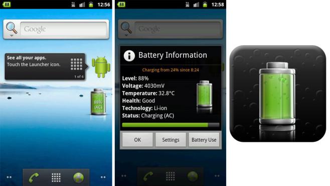 Battery Widget (kostenlos) ©Elvison