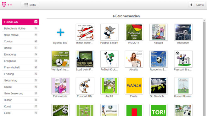 T-Online: E-Cards versenden ©COMPUTER BILD