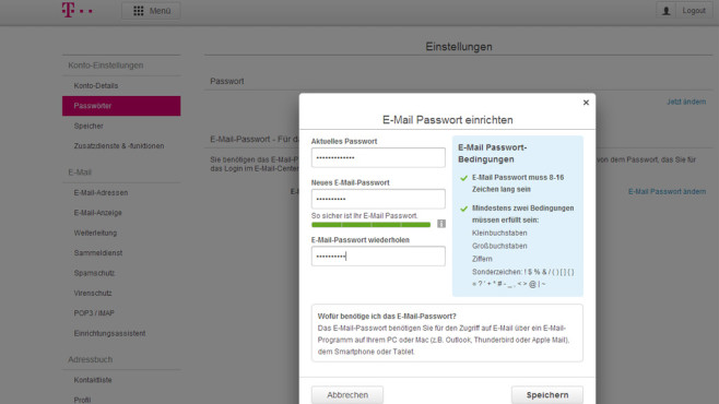 T-Online: E-Mail-Passwort setzen ©COMPUTER BILD