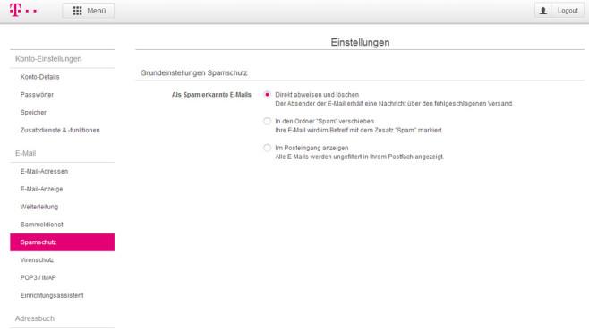 T-Online: Spamschutz einstellen ©COMPUTER BILD