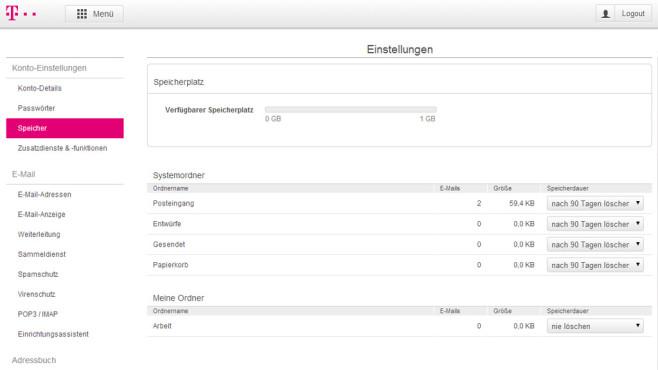 T-Online: Speicherplatz verwalten ©COMPUTER BILD