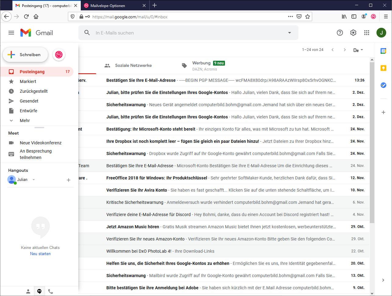 Screenshot 1 - Mailvelope für Firefox