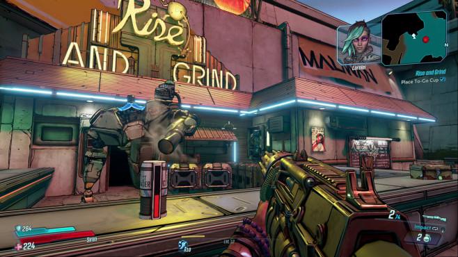 """Borderlands 3: Release-Termin, Gameplay-Trailer, alle Infos Der Humor ist wieder göttlich: In einer mehrstufigen Nebenmission setzen Sie für eine Tasse Kaffee Ihr Leben aufs Spiel. Der """"Botrista"""" vom Coffee Shop """"Rise and Grind"""" spricht derweil wie ein bekiffter kalifornischer Hipster.©2K Games, Gearbox"""