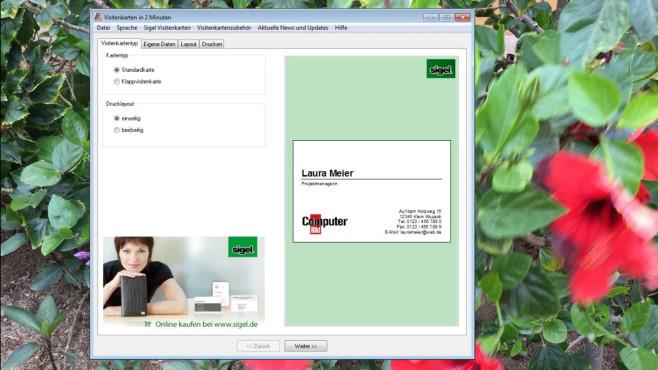 Visitenkarten in 2 Minuten ©COMPUTER BILD
