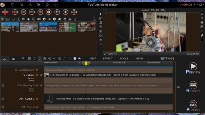 YouTube Movie Maker: Videobearbeitung extra für YouTube © COMPUTER BILD