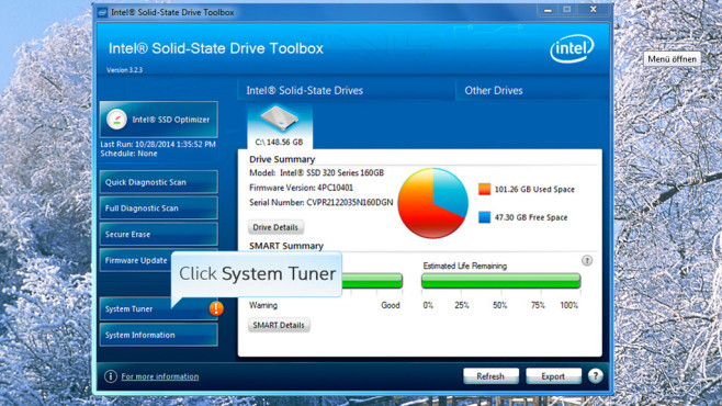 Intel SSD Toolbox: Diagnose-Werkzeug für SSDs ©COMPUTER BILD