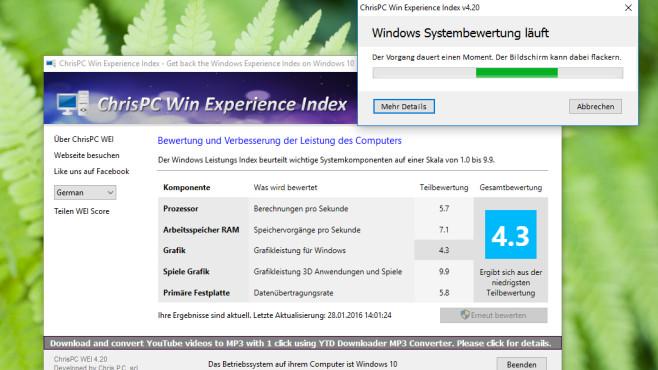 Win Experience Index: Tempolevel mit Bordmitteln beurteilen ©COMPUTER BILD