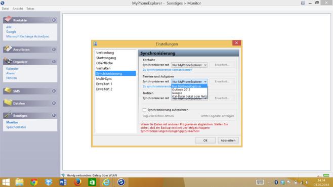 Galaxy S5: So funktioniert der Abgleich mit Outlook am PC auch ohne Cloud Die Gratis-Software MyPhoneExplorer bietet eine lokale Synchronisation ohne Internet-Cloud an, optional auch mit Outlook oder anderen Kalender-/Adressprogrammen auf dem PC.©COMPUTER BILD