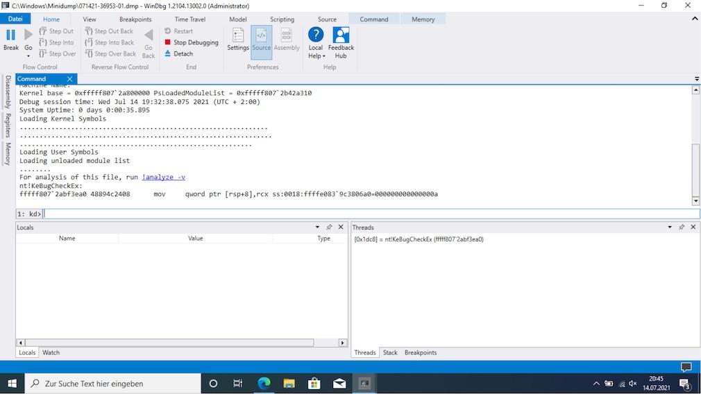 Windows-Bluescreen beheben: So beseitigen Sie Systemabstürze Das komplexe WinDbg erlaubt Ihnen Einblicke in Bluescreen-Speicherabbilder.