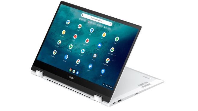 Asus Chromebook CX5 mit umgeklappten Bildschirm vor weißem Hintergrund©Asus
