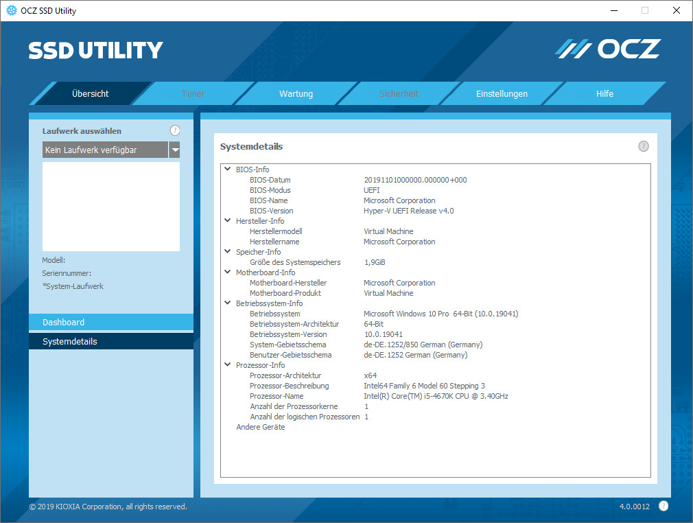 Screenshot 1 - OCZ SSD Utility