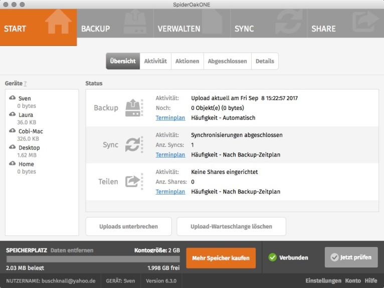 Screenshot 1 - SpiderOak One (Mac)