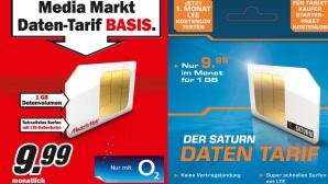 Media-Saturn startet mit eigenen Datentarifen Neue Tarife: Für 9,99 Euro im Monat bekommen Sie bei Media Markt und Saturn ab sofort 1 Gigabyte Datenvolumen.©Media Markt, Saturn
