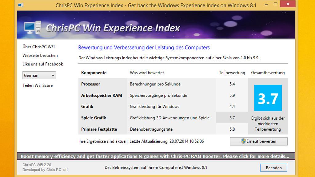 Windows 8 1: Leistungsindex nachrüsten - COMPUTER BILD