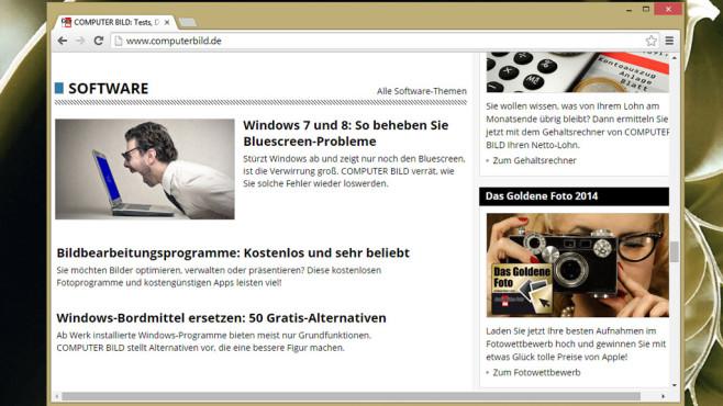 Google Chrome: Schneller Webbrowser zum Surfen ©COMPUTER BILD