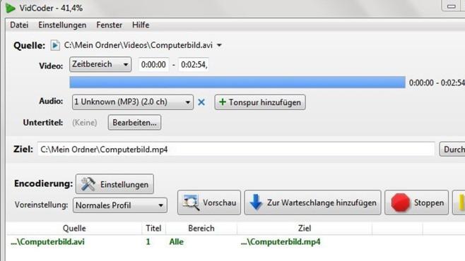 VidCoder: Dateien neu kodieren ©COMPUTER BILD