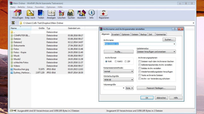 WinRAR: Dateien (de)komprimieren ©COMPUTER BILD