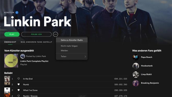 Spotify Künstler-Radio starten ©COMPUTER BILD