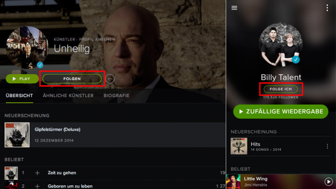 Spotify Künstlern folgen ©COMPUTER BILD