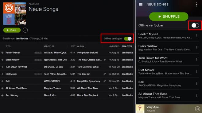 Spotify Playlisten Offline speichern ©COMPUTER BILD