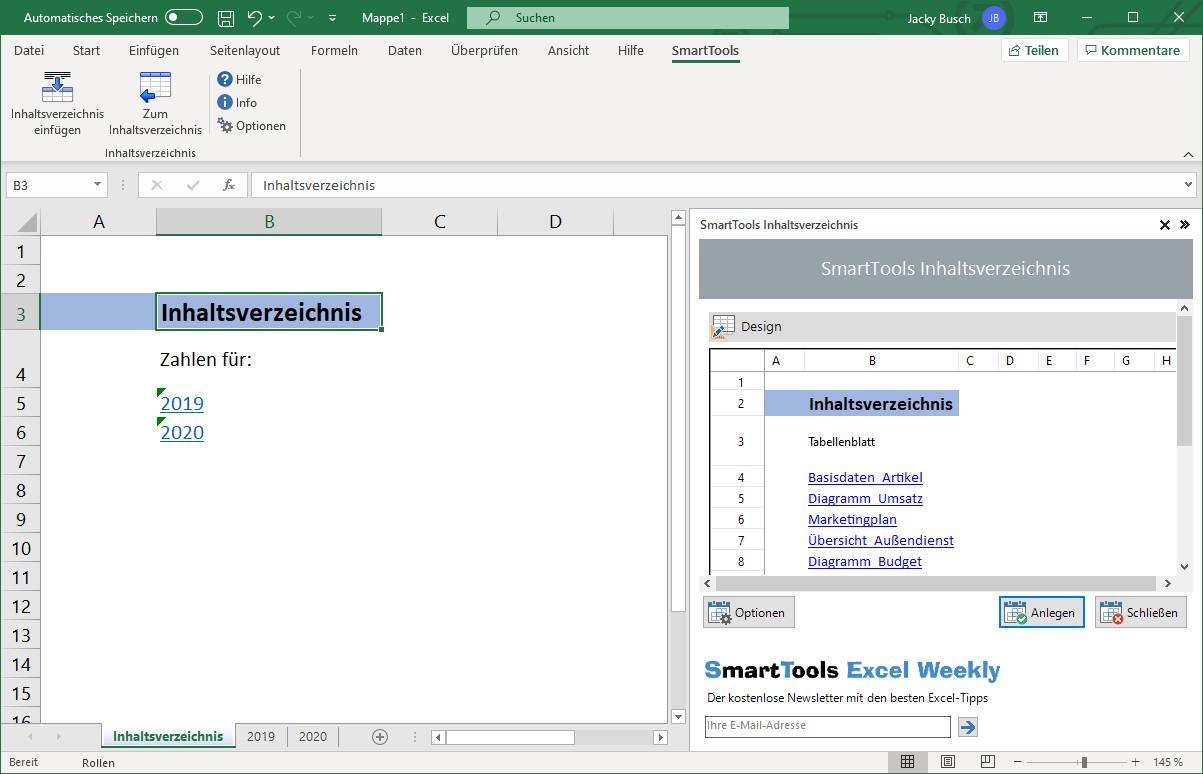 Screenshot 1 - SmartTools Inhaltsverzeichnis für Excel
