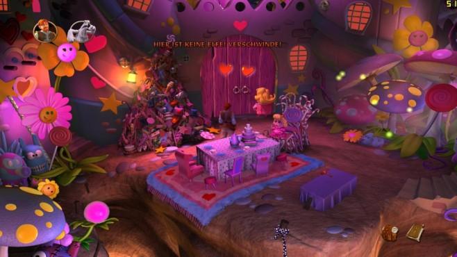 The Book of Unwritten Tales 2: Verfluchtes Rosa Die Helden müssen schnell handeln, bevor die niedliche Chantal die ganze Welt rosa färbt ...©Nordic Games
