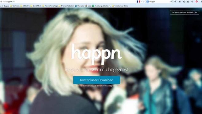 Webseite der Flirt-App Happn©Screenshot: happn.fr/de