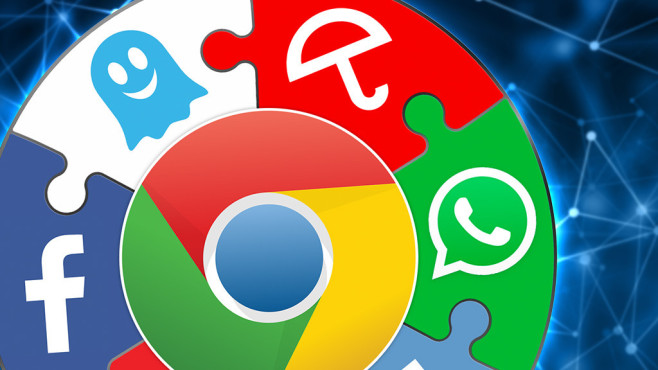 Google-Chrome-Erweiterungen © Google, WhatsApp, Avira, Ghostery, Facebook, ©istock.com/traffic_analyzer