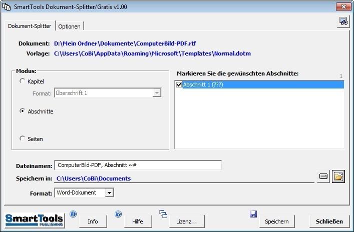 Screenshot 1 - SmartTools Dokument-Splitter für Word