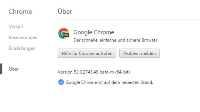 Google Chrome 52 (Beta) © COMPUTER BILD