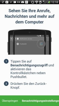 Pushbullet einrichten - Teil 1 © Screenshot: Pushbullet-App