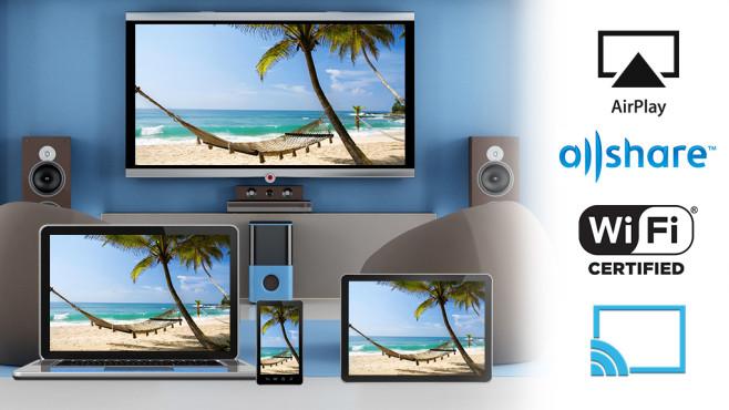 Streamings auf den TV bringen. Sie möchten Ihre gestreamten Serien und Filme vom Laptop oder Tablet auf den Fernseher übertragen? COMPUTER BILD zeigt, wie es geht.©daboost - Fotolia.com, archideaphoto – Fotolia.com, Fyle - Fotolia.com,  Samsung, Apple, All Cast, WiFi Certified