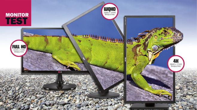 4K-Monitore, WQHD-Displays und Full-HD-Bildschirme auf dem Prüfstand ©LG, AOC. Asus, Thinkstock