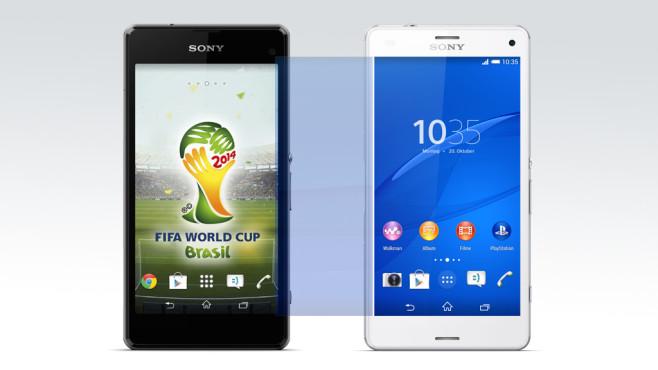 Sony Xperia Z3 Compact: Test von Sonys kompaktem Top-Smartphone Das Xperia Z3 Compact ist so lang wie sein Vorgänger Xperia Z1 Compact. Dabei ist das Display von 4,3 auf 4,6 Zoll gewachsen.©Sony