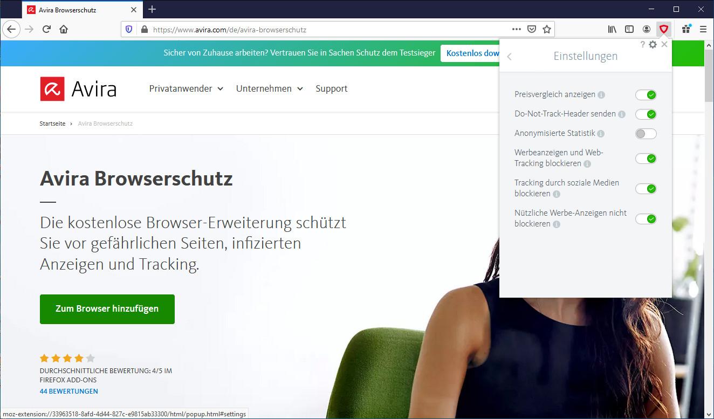 Screenshot 1 - Avira Browserschutz für Firefox
