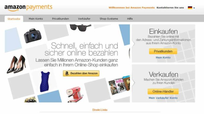 Webseite von Amazon Payments © Screenshot: payments.amazon.com
