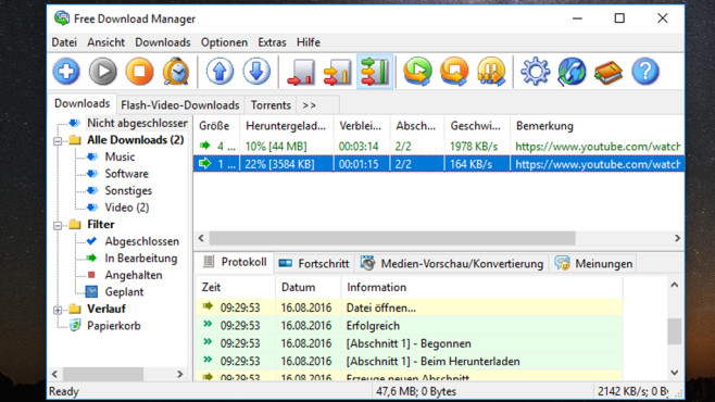 Download-Vorgänge ziehen sich hin: Free Download Manager ©COMPUTER BILD