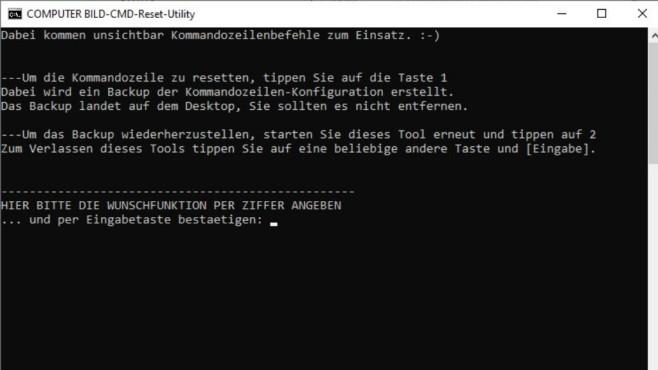 Kommandozeile verkonfiguriert: CoBi-CMD-Reset-Tools ©COMPUTER BILD