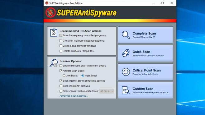 Schnellerer Schädlings-Scan erwünscht: SuperAntiSpyware Free Edition ©COMPUTER BILD