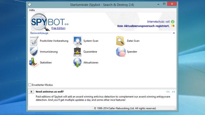 Spionageprogramme auf der Festplatte: Spybot – Search & Destroy, AdwCleaner ©COMPUTER BILD