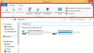 Windows 8: So entfernen Sie die Ribbon-Leiste im Explorer Ein zweischneidiges Schwert: Microsofts Ribbon-Band sorgt für leichte Bedienung, nimmt aber anderseits viel Platz ein.©COMPUTER BILD
