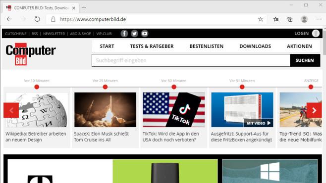 Microsoft Edge (Chromium-Basis): Schneller Webbrowser ©COMPUTER BILD