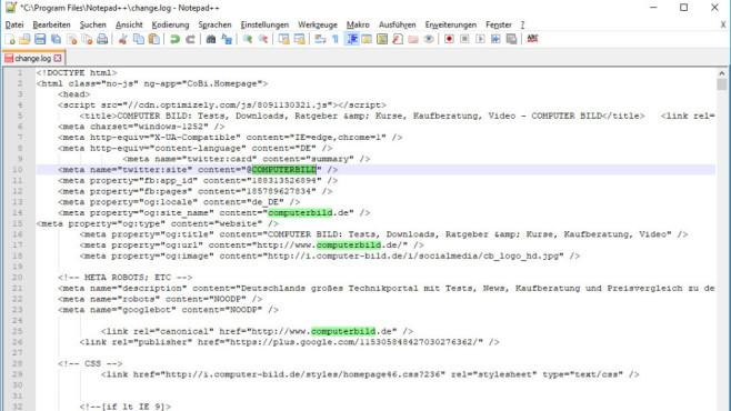 Notepad++: Programmieren in verschiedenen Sprachen ©COMPUTER BILD